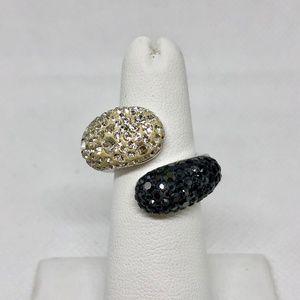 Swarovski Louise Black & White Twist Ring
